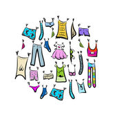 Sketch of clothes collection for your design — Stock Vector