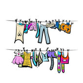 Clothes on the clothesline. Sketch for your design — Stock Vector