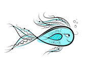 Sketch of funny fish for your design — Stock Vector