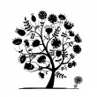 Abstract floral tree silhouette for your design — Imagen vectorial