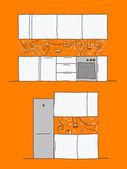 Návrh kuchyně zdi s legrační ptáků a kočky — ストックベクタ