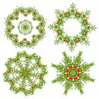 Set of christmas wreaths for your design — ストックベクタ