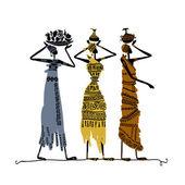 Hand ritad skiss av etniska kvinnor med kannor — Stockvektor