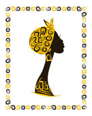 Female head silhouette for your design, ethnic ornament — Stock Vector
