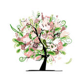Floral tree for your design — Stock Vector
