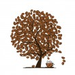 Coffee time. Art tree for your design — Stock Vector
