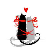 Two cat in love. Illustration for your design — Stock Vector