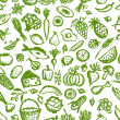 Healthy food seamless pattern, sketch for your design — Imagen vectorial