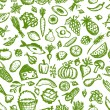 Stock Vector: Healthy food seamless pattern, sketch for your design