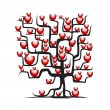 Love tree wih red hearts for your design — Stok Vektör