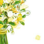 あなたのテキストのための場所で花のポストカード — ストックベクタ