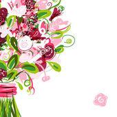 Postal floral con lugar para el texto — Vector de stock
