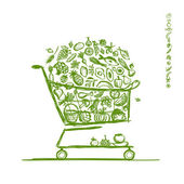 Shopping cart with healthy food for your design — Stock Vector