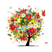 Concetto di quattro stagioni. albero di arte per il vostro disegno — Vettoriale Stock