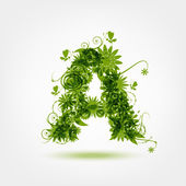 Green eco letter A for your design — Stock Vector