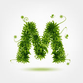 Green eco letter M for your design — Stock Vector