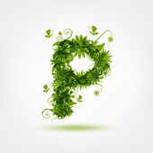 Green eco letter P for your design — Stock Vector