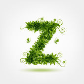 Green eco letter Z for your design — Stock Vector