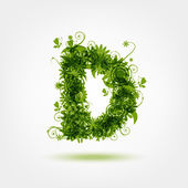 Green eco letter D for your design — Stock Vector