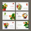 Postcard collection with floral pots for your design — Stock Vector
