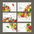 Postcard collection with floral bouquet for your design — Stok Vektör