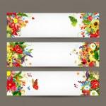 Floral stijl banners voor uw ontwerp — Stockvector