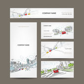 Business cards collection, cars on city road for your design — Stock Vector