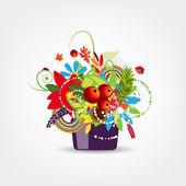 Floral pot isolated for your design — Stock Vector