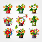 Set of floral pots isolated for your design — Stock Vector