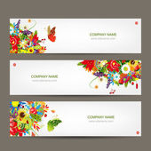 Floral style banners for your design — Cтоковый вектор