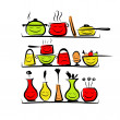 Kitchen utensils characters on shelves, sketch drawing for your design — Stock Vector