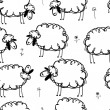 Funny sheeps on meadow, seamless pattern for your design — Stock Vector