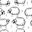 Funny sheeps on meadow, seamless pattern for your design — Stock Vector #30280589