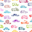 Toy cars collection, seamless pattern for your design — Stock Vector