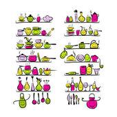 あなたのデザインの棚、台所道具文字デッサンします。 — ストックベクタ