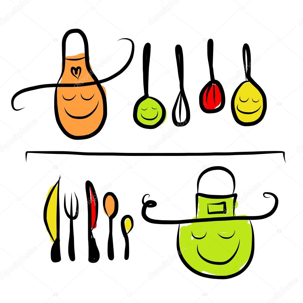 Sketch Of Kitchen Utensils : ... Kitchen-utensils-characters-on-shelves-sketch-drawing-for-your-design