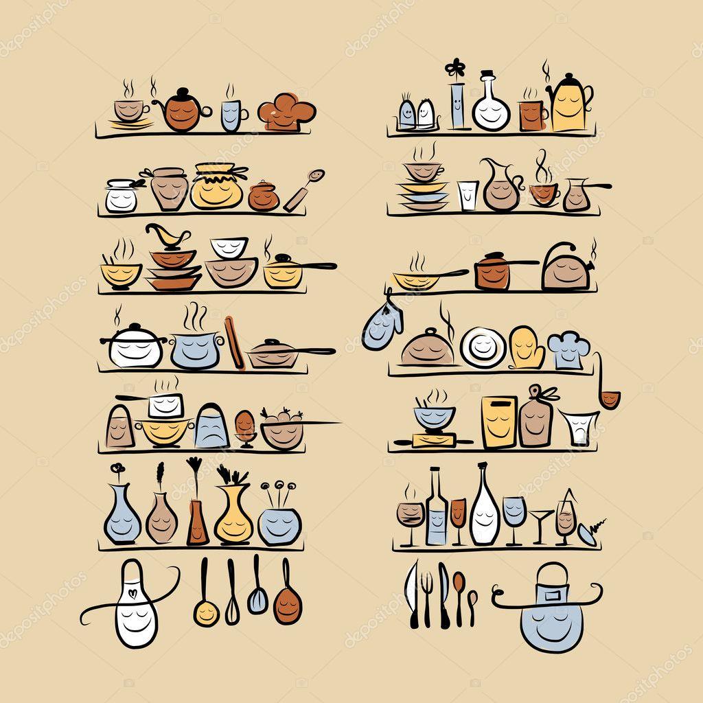 de cozinha em prateleiras esboço de desenho para seu projeto  #9E762D 1024 1024