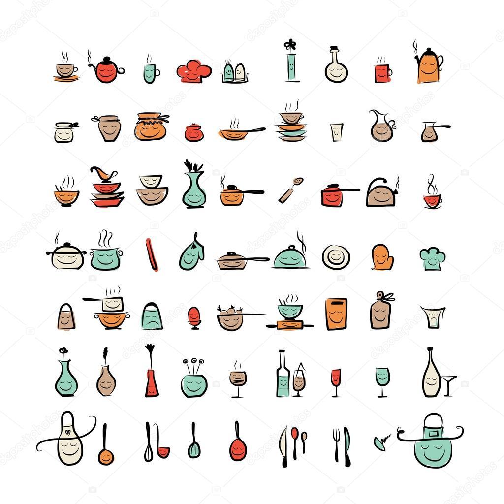 Personajes de utensilios de cocina dibujo dibujo iconos para su dise o vector stock - Utensilios de cocina de diseno ...