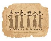 Schizzo di donne egitto con brocche per il vostro disegno — Vettoriale Stock