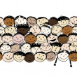 Crowd of funny peoples, seamless background for your design — Stock Vector