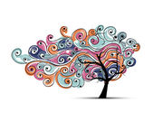 您设计的的抽象波浪树 — 图库矢量图片