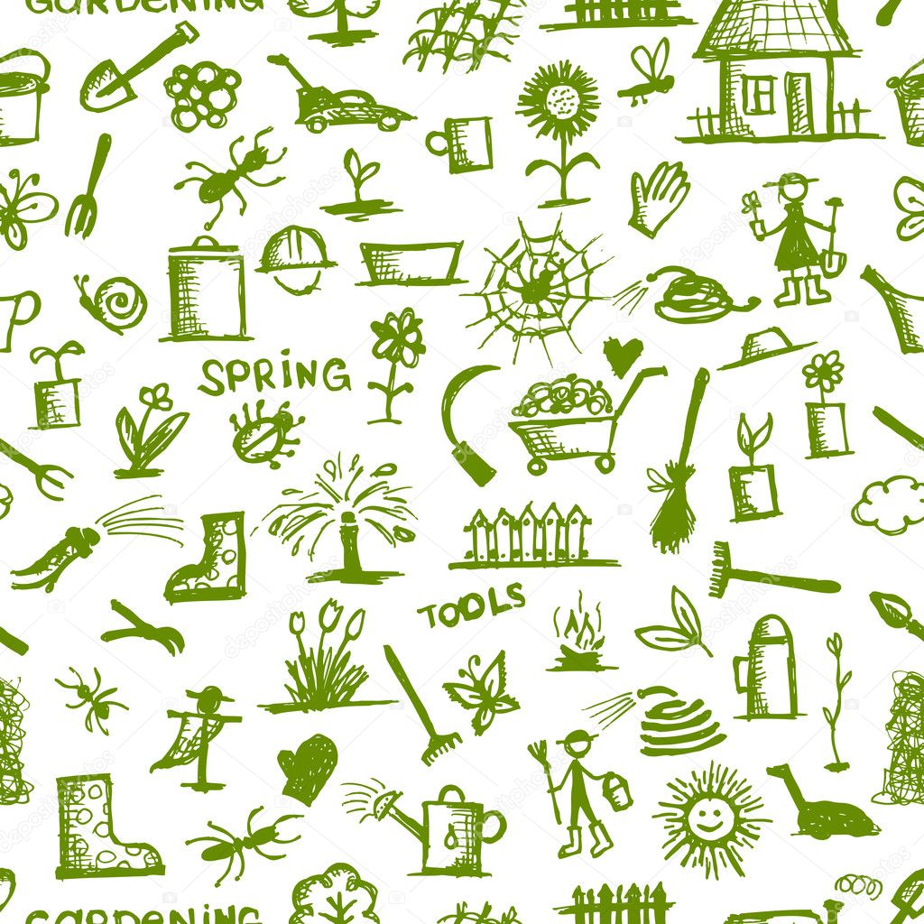 Garden Tools Sketch Seamless Pattern For Your Design