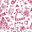 Seamless pattern with wedding design elements — Stok Vektör
