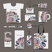 Företagskunder stil design: tshirt, etiketter, mugg, väska, kort — Stockvektor