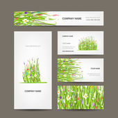 Business cards collection, green meadow design — Stock Vector