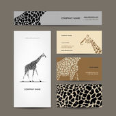 Business cards collection, giraffe pattern — Stock Vector