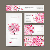 Business cards design with floral tree pink — Stock Vector