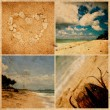 Collage of photos on grunge paper. Bali beach, Indonesia — Stock Photo