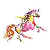 Horse sketch colorful for your design. Symbol of 2014 year — Stock Vector