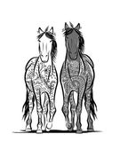 Couple of horses with floral ornament for your design. Symbol of 2014 year — Stock Vector